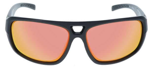 Shiny Black- Matte Black frame, Red Multi-Mirror Hydrophobic Polarized lens