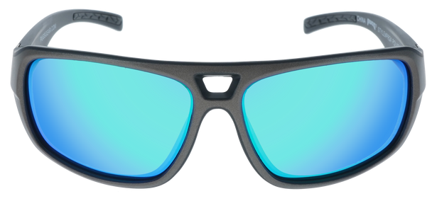 Matte Metallic Gray- Matte Black frame, Green Multi- Mirror Hydrophobic Polarized lens