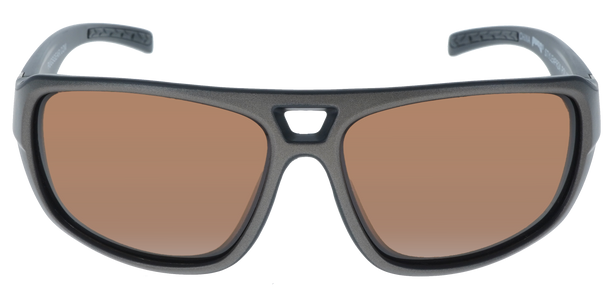 Matte Metallic Gray- Matte Black frame, Brown Hydrophobic Polarized lens