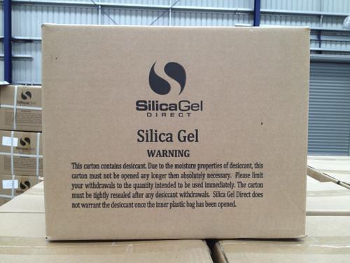 A carton of Silica Gel Directs 500gm tyvek silica, 28 bags per carton