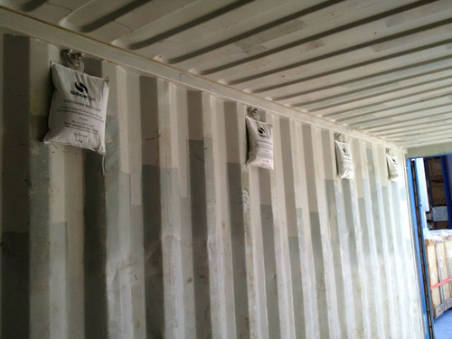 Our 2kg container desiccant used in a 20' container