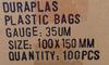 100mm X 150mm 100pk plastic bags information