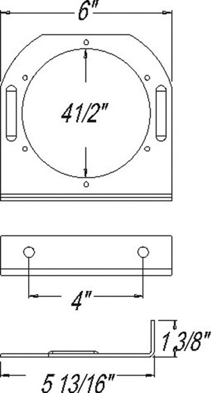 "OPTRONICS / Steel mounting bracket for 4"" lights, powder coated, black  / BK45BB"
