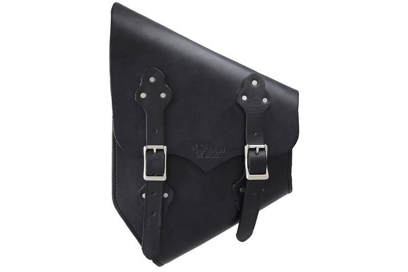 Side view of a black Hardtail Saddle Bag for a Harley Davidson