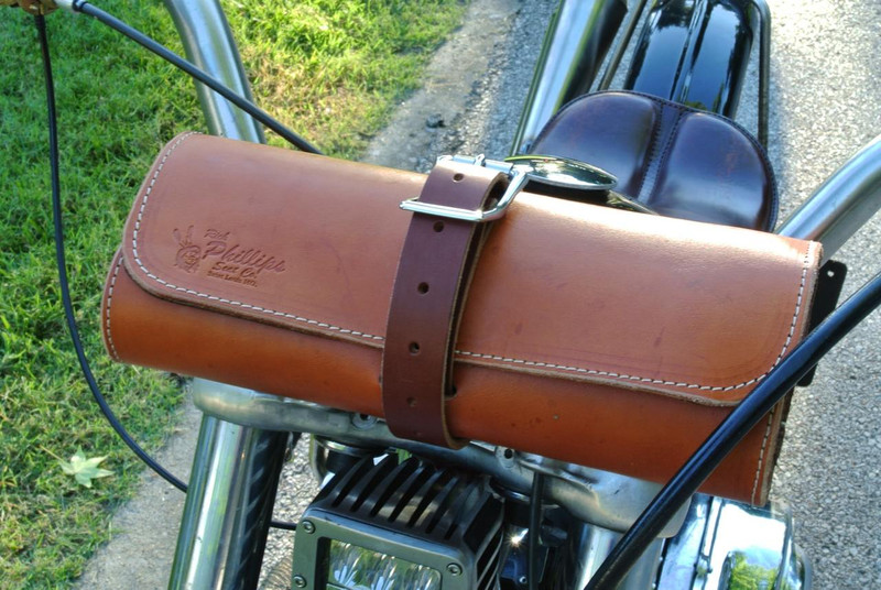 A biker tool roll attached to a Harley Davidson