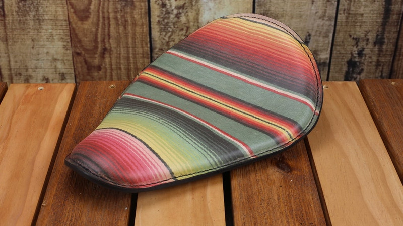 Mexican Blanket Harley Seat made by Rich Phillips Cycles