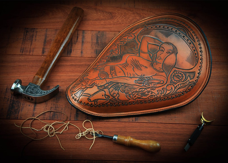 A Rich Phillips Cycles one of a kind Bandita Seat with original leather art