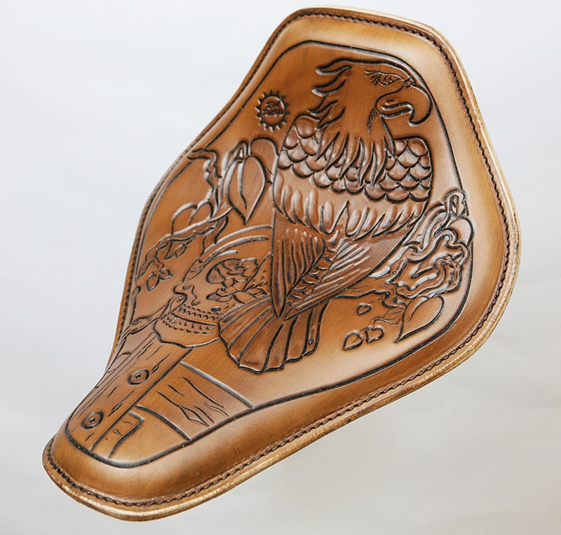 Death Eagle artwork applied to a Harley seat