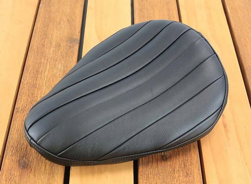Black Plumper Real Tuck and Roll (Bates Style) seat for a Harley motorcycle