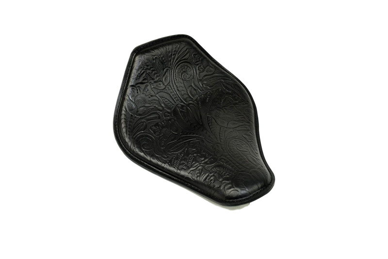 Snub Nose Spring Solo Seat 10x13, Black Leather embossed in Squash Blossom design by Rich Phillips Leather MADE IN USA