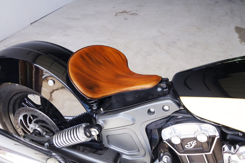 Color Gel Tan, Quality leather tractor motorcycle seat and spring solo mounting kits made in the USA and handcrafted by Rich Phillips Leather in Missouri.  Fits all Indian Scout models and one of the best and most comfortable seats is our Tractor Seat and fits amazing on the Indian Scout models.