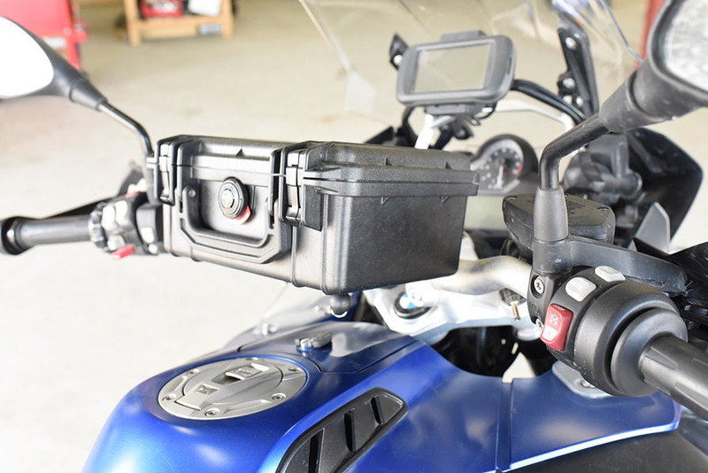 Pelican 1150 handlebar box shown on a BMW motorcycle