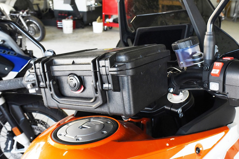 Pelican 1150 Handlebar Box for 1 1/8 inch handlebars on a KTM Adventure motorcycle