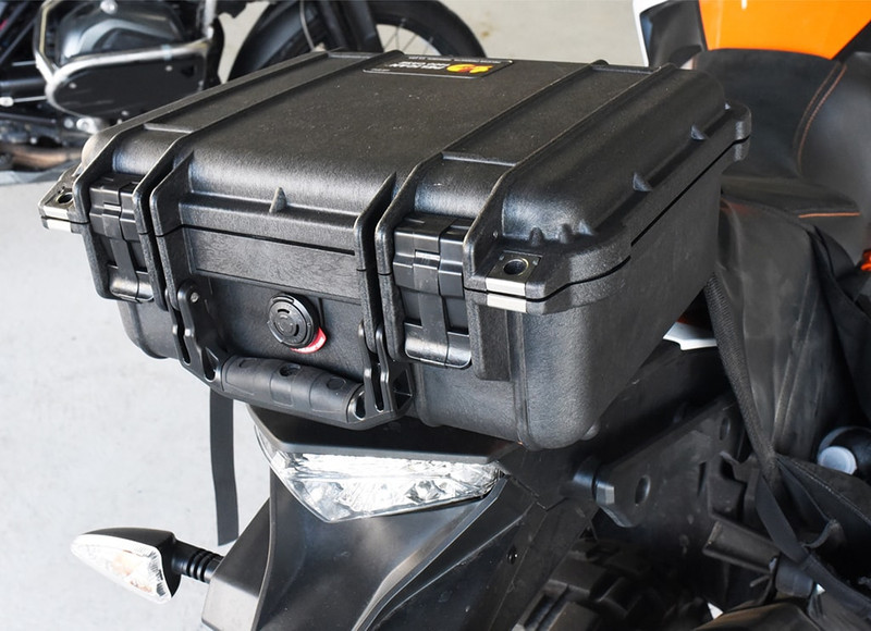 Pelican 1400 handlebar box shown on a KTM Adventure motorcycle