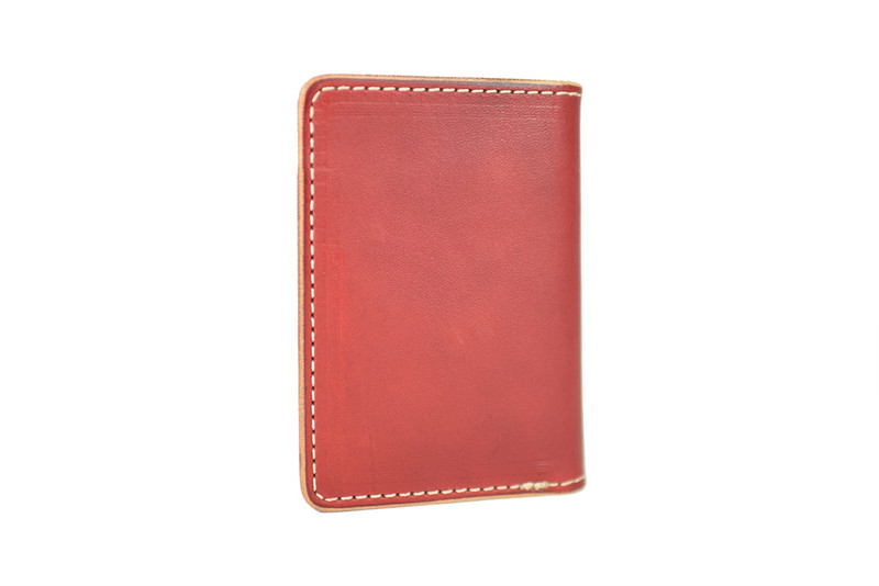 Tom Sawyer Bi-Fold Wallet Red Herman Oak Leather Back
