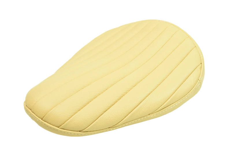 Cream Bates Tuck and Roll Spring Solo Motorcycle Seat