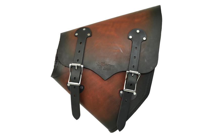 Hardtail Saddle Bag - Sunburst, for hardtail choppers and Harley Davidson Softail motorcycles, left side by Rich Phillips Leather