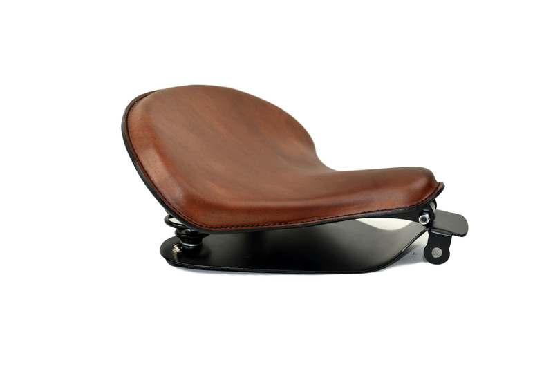 15x14 Med Br Tractor Seat with 2010 & Up Sportster Mounting Kit, Black Springs, all Sportster Models HANDMADE IN USA by Rich Phillips Leather