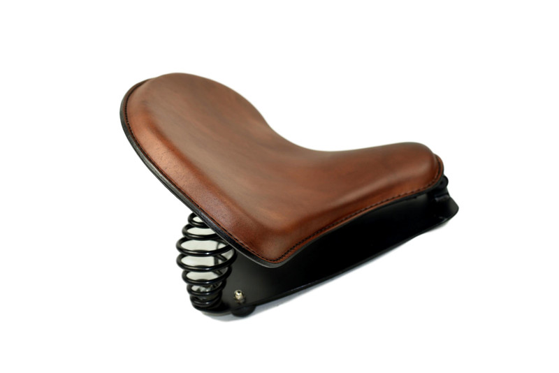 Medium Brown Tractor Seat 15x14 with Indian Scout Mounting Kit Black Springs for 2015 and Up by Rich Phillips Leather MADE IN USA
