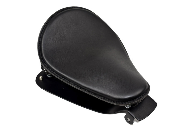 Black Leather 10x13 Spring Solo Seat with Sportster Mounting Kit for 2010 & Up, Black 2 Inch Coil Springs MADE IN USA by Rich Phillips Leather