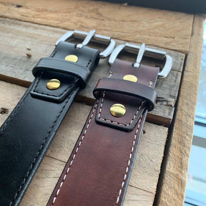 Deluxe Veg Tanned Belt in Waxy Black or Whiskey Barrel Brown Stainless Steel Buckle attached with Chicago Screws Handcrafted by Rich Phillips Leather in Saint Charles Missouri