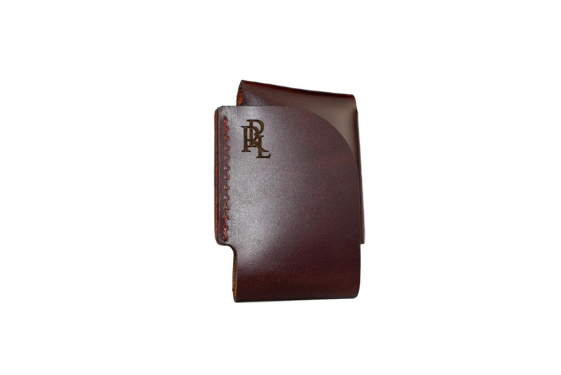Port Wine Leather Origami Wallet with RPL logo - Front view Handcrafted in Saint Charles Missouri...