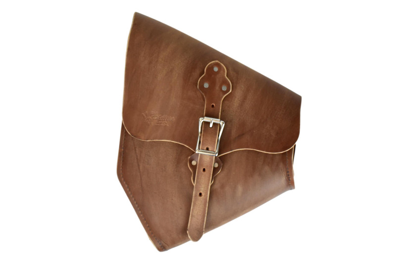 Brown Distressed, One Buckle, Hardtail Saddle Bag MADE in USA