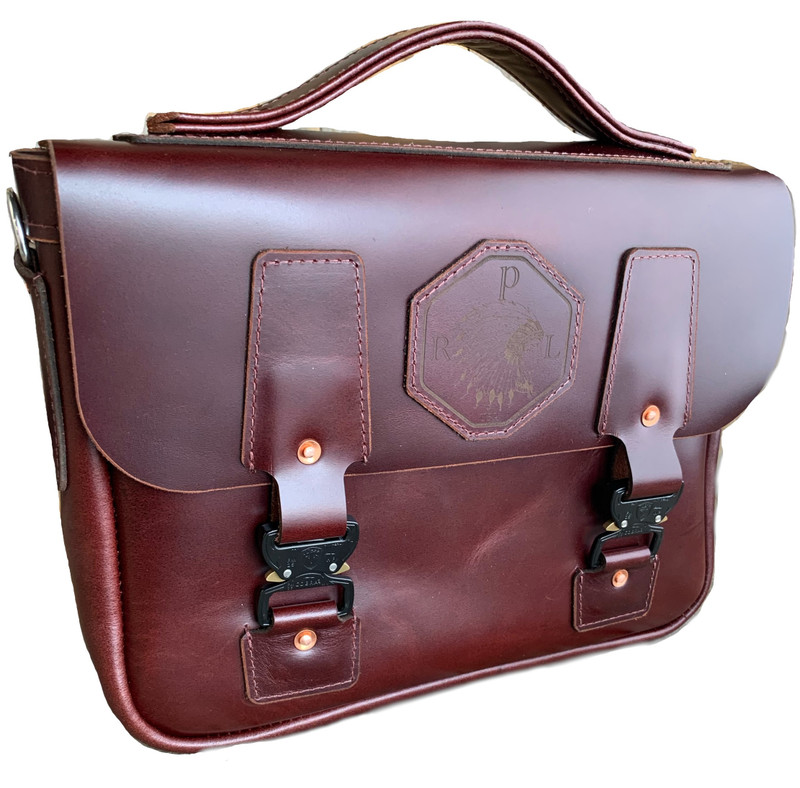 The Pony Express bag handcraft and made in the USA by Rich Phillips Leather.  Great for your IPAD or smart device along with all your other items you need when on the go.  Comes with matching shoulder/crossbody strap.  Made from premium supple leather, brass rivets, stainless hardware and special quick release Cobra fasteners.