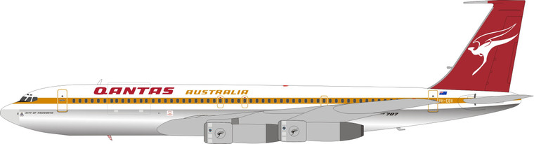 Inflight200 Qantas Boeing 707-338C VH-EBV Polished IF707QF1119P 1:200