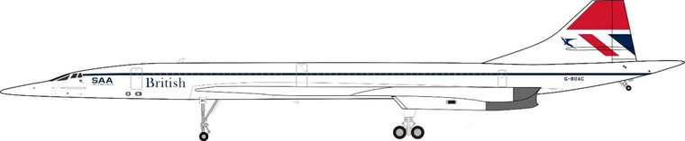 Inflight200 British Airways Concorde G-BOAC with stand and collector coin ARDBA25 1:200