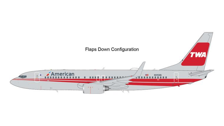 Gemini200 American Airlines B737-800(W) TWA Heritage Livery, flaps down N915NN G2AAL473F 1:200