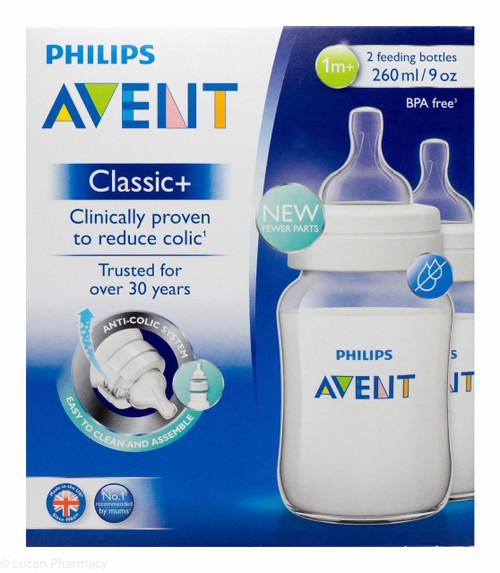Lucan Pharmacy AVENT Classic + Feeding Bottles 260ml - 1 Mnth+ (2 Pack)