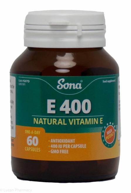 Sona® E 400 Natural Vitamin E – 60 Capsules
