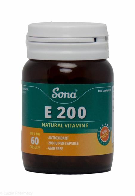 Sona® E 200 Natural Vitamin E – 60 Capsules