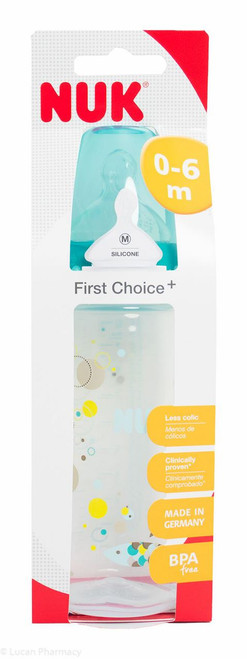 NUK® First Choice+ 300ml Bottle Size 1 0-6 Months Silicone Teat Medium Hole
