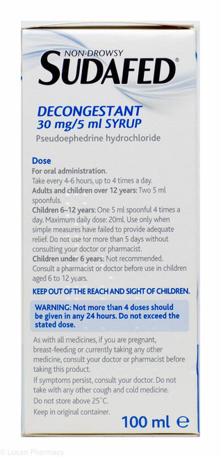 Sudafed® Decongestant 30mg/5ml Syrup – 15ml #P