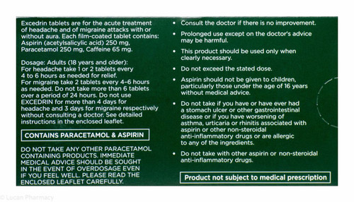 Excedrin Migraine And Headache Tablets 20 Tablets P Lucan