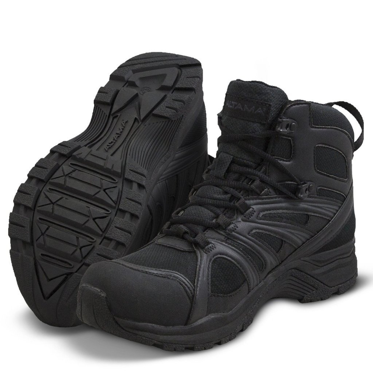 """ALTAMA ABOOTTABAD TRAIL MID WATERPROOF 6"""" TACTICAL BOOTS 353201 / BLACK"""