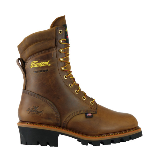 www.gearworldzretail.com  THOROGOOD USA LOGGER SERIES – 9″ BROWN TRAIL CRAZYHORSE – INSULATED – WATERPROOF BOOTS 804-3554