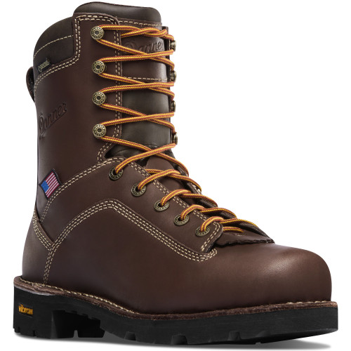 "DANNER® QUARRY USA 8"" BROWN ALLOY TOE WATERPROOF WORK BOOTS 17307"