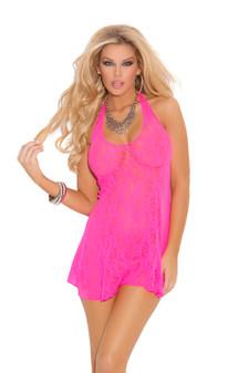 Halter Bow Lace Mini Dress