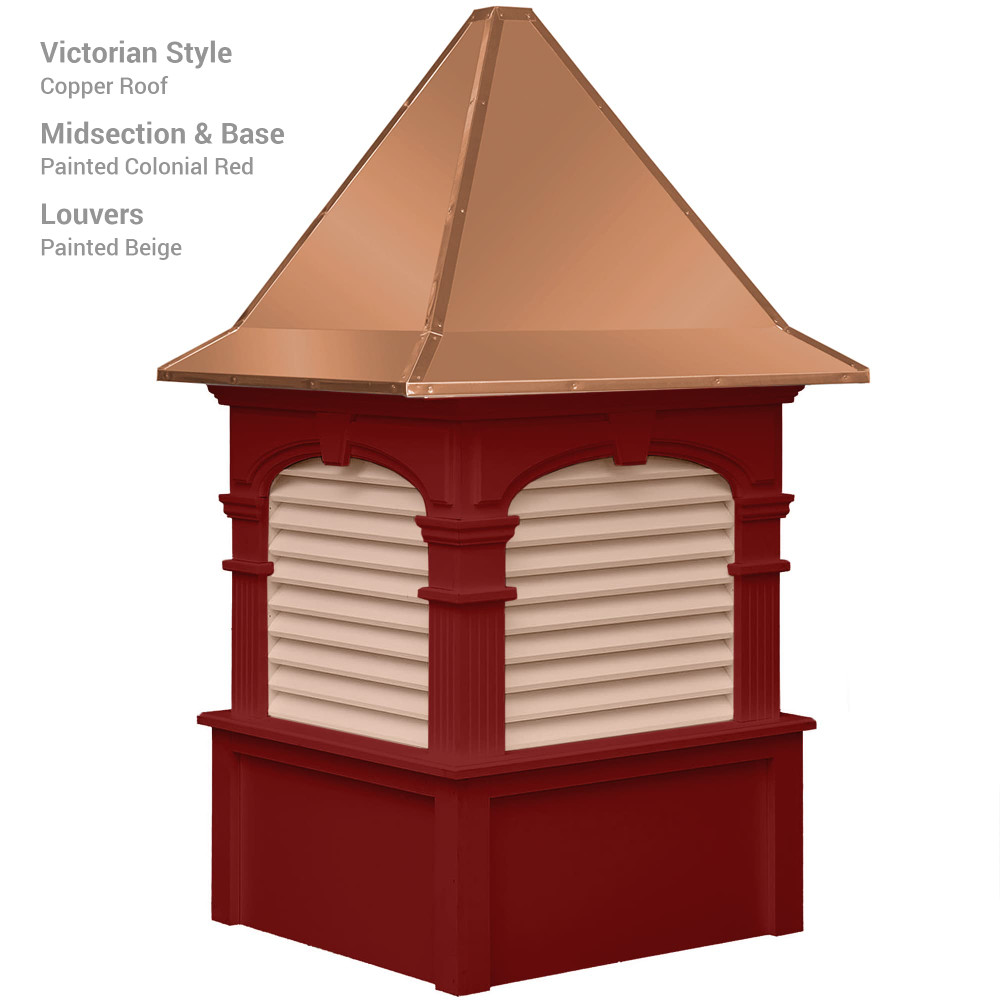 Signature Alexander Vinyl Cupola With Victorian Copper Roof and Colonial Red Base With Beige Louvers