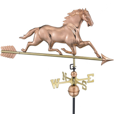 Running Horse Copper Weathervane With Arrow