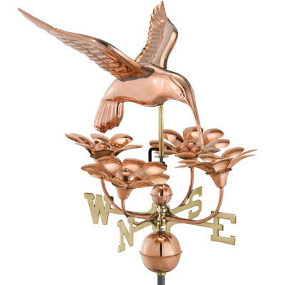 Hummingbird With Flowers Copper Weathervane