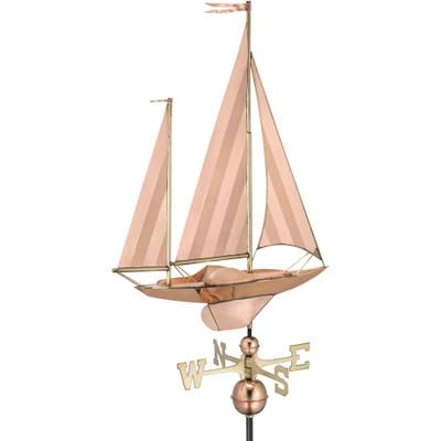 Coastal Sailboat Copper Weathervane