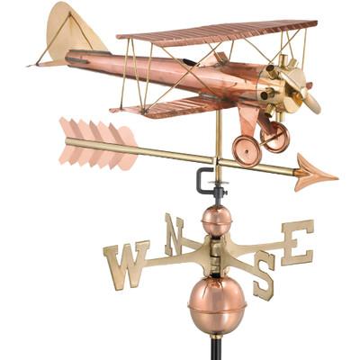 Swooping Biplane Copper Weathervane