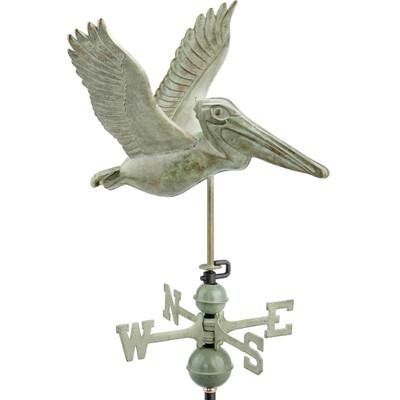 Flying Pelican Verde Patina Copper Weathervane