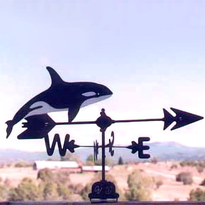 Killer Whale Silhouette Steel Weathervane