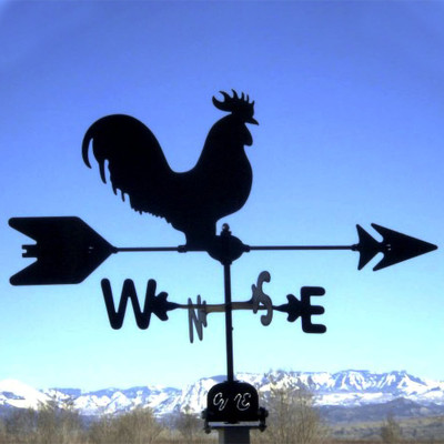 Rooster Silhouette Steel Weathervane