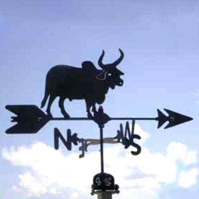 Brahma Bull Silhouette Steel Weathervane